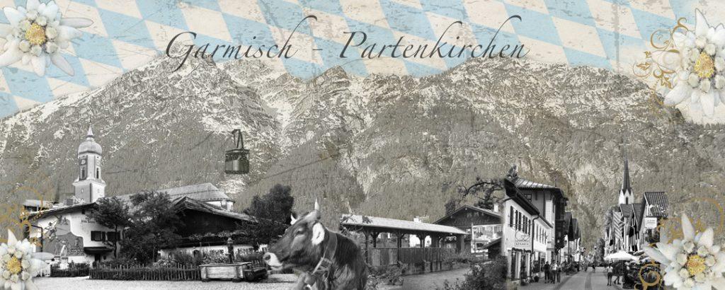 Garmisch-Partenkirchen Sehenswürdigkeiten, Collage von Sabine Mannheims