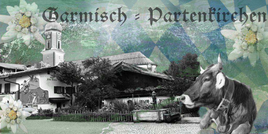 Garmisch-Partenkirchen, Fotocollage Sehenswürdigkeiten, Edelweiss, Kuh, Berge, Bayerische Raute