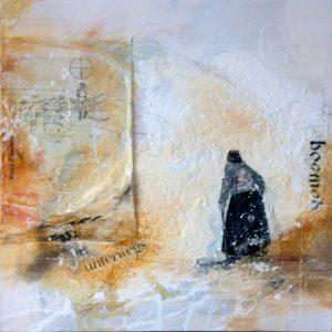 Fototransfer, alte Frau mit Skiern, Berghütte, Leinwand, Malerei